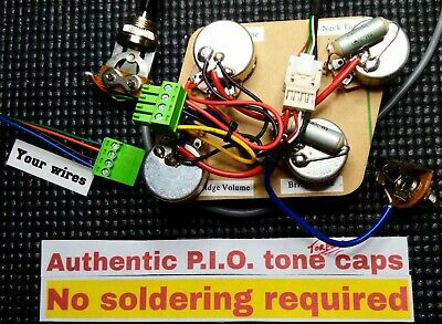 Epiphone Les Paul Wiring Harness - PIO Caps! Drop in fit - Just attach pickups!