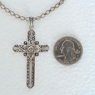 Vintage Sterling Silver Necklace Cross Pendant Marcasite Gemstone Italy 25.66 gr