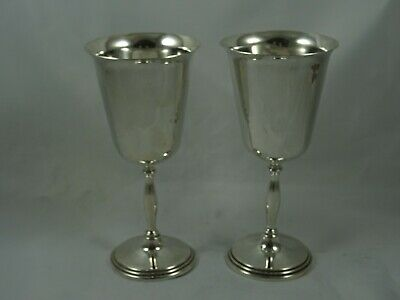 PAIR, solid silver WINE GOBLETS, 1972, 377gm
