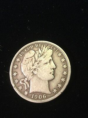 1906-S Barber Half VF—Earthquake History Hard Date In Decent Condition