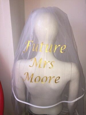 Personalised Printed Veil Metallic Gold Rose Gold Silver Bride Hen Party 👰