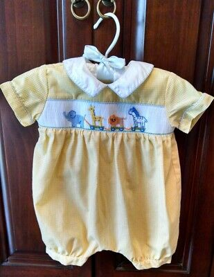 5d7d6bf8974a Collection Bebe by Vive La Fete Baby Boy Smocked Animals Yellow Bubble Sz 3  Mo