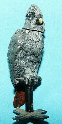 """Antique~COCKATOO or COCKATIEL on a PERCH~Metal NODDER~Cold Painted~3-5/8"""""""