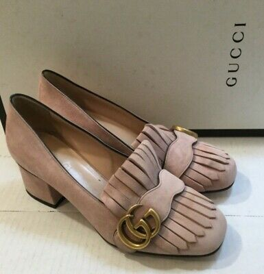 c4d2b7c448c GUCCI Women s Marmont GG Pink Suede Fringe Loafer Mid-Heel Pumps Size34.5 US