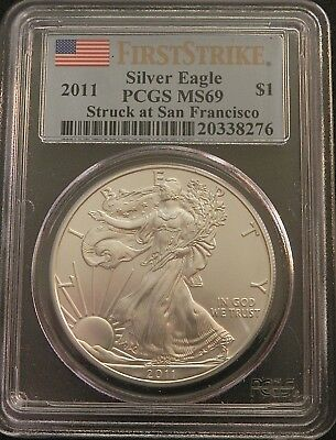 2011 Usa Siver Eagle 1 Oz Silver Dollar First Strike Slabbed Pcgs Ms69