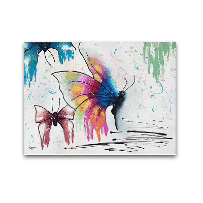 Butterfly Original Painting on Canvas Acrylic Pour Painting Fluid Art Wall Decor