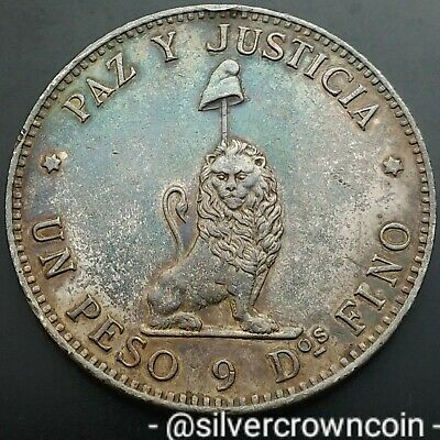 SCC Paraguay 1 Peso 1889. KM#5. Silver Crown Dollar coin Unknown quantity melted