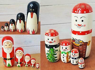 Christmas Dolls Penguin Santa Snowman Wooden Nesting Doll Russian Stacking Dolls