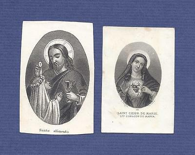 Set of 2 old prints HOLY CARD / Sacred Heart of Mary + Holy Bread TURGIS 19th c.