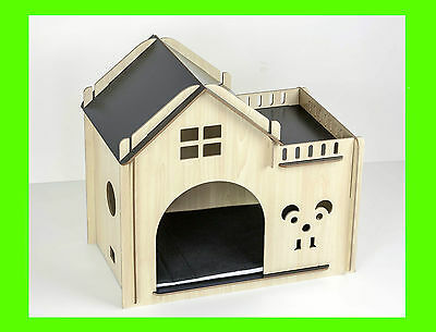 Wooden Cat Small Dog Pet Cozy House With Bed Mattress Size 50cm x 30 cm