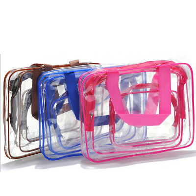 3pcs/set Waterproof PVC Zip Transparent Clear Travel Cosmetic Wash Bag Pouch NEW