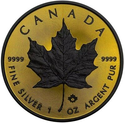 2016 1 Oz Silver $5 SHADOW MAPLE LEAF Ruthenium Coin, 24kt Gold Gilded.