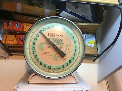 Vintage Old Hanson Nursery Baby Scale 3025 Tray White Pink Works  CLEAN