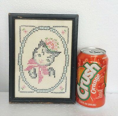 "Vintage Antique Needlepoint Sampler Cat w/ Bonnet & Bow 7 3/4"" x 5 3/4"""