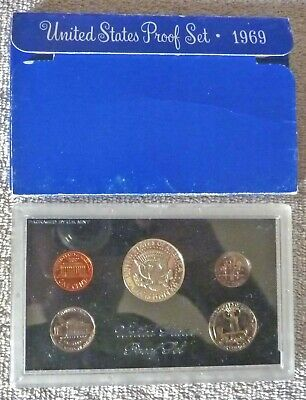 1969-S U.S. MINT PROOF COIN SET 5 Coins in Sealed Plastic Display Case