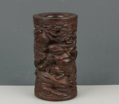 Chinese Exquisite Hand-carved Buddha and landscape carving Wooden Brush Pots