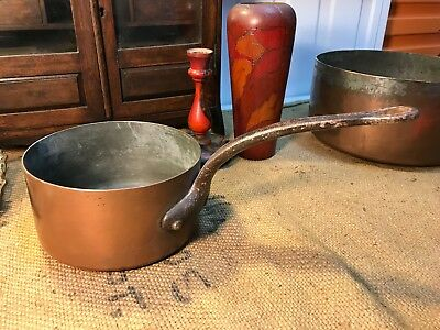 Antique Copper & Brass Saucepan with Cast Iron Handle Country Kitchen Display
