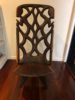 East African Malawi Wooden Hand Carved Chair - 2 pieces