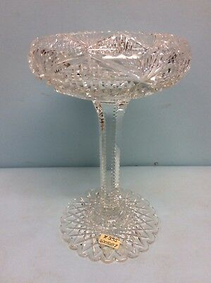"""Cut Crystal Compote 9"""" Tall"""