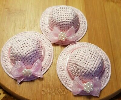 Miniature dolls house accessories Ladies Hat 1:12th scale miniature size Pink