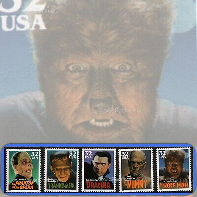 1997  CLASSIC MOVIE MONSTERS  Complete SET of 5  MINT Individual Stamps #3168-72