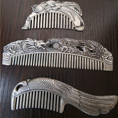 Antique  (3) Chinese Ancient Copper Silver Dragon Phoenix Combs