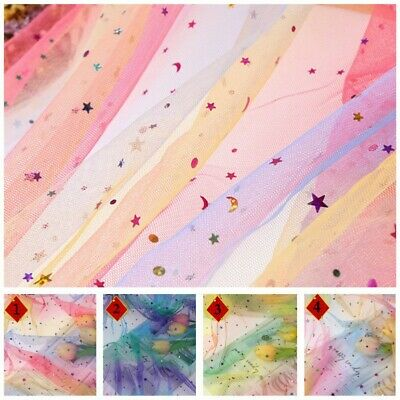 Sequins Rainbow Mesh Tulle Fabric Sheer Glitter Tutu Dress Stage Decor By Metre