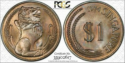 1974 Singapore $1 Dollar BU PCGS MS66 Color Toned Coin None Graded Higher