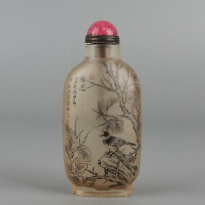 Chinese Exquisite Handmade bird Glass Inside painting snuff bottle