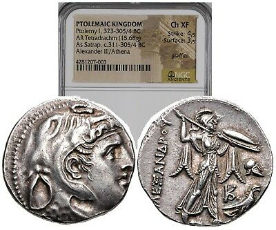 Alexander the Great on PTOLEMY I Soter Silver Tetradrachm Greek Coin NGC CH XF