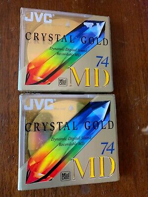 JVC CRYSTAL GOLD 74 MD RECORDABLE BLANK MINIDISC - SEALED x2