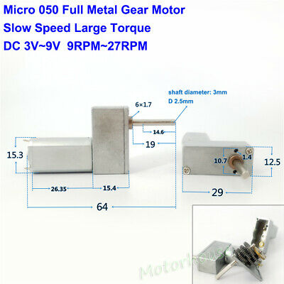 Full Metal Gearbox Gear 050 Motor DC 3V-9V 9RPM-27RPM Slow Speed Large Torque