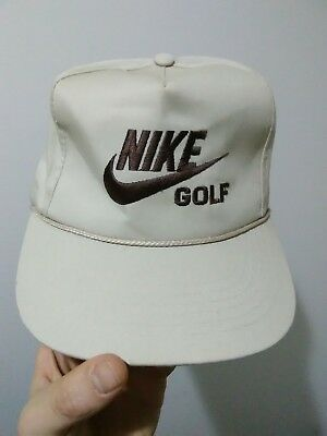 c11f4c8a Vintage 80s Nike Golf Leather Strapback Rope Hat Cap Tiger Woods PGA US Open