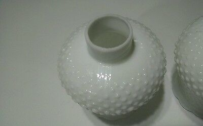 "1 Vintage White Milk Glass Hobnail Oil Lamp Glass Shade Chandelier 1-5/8"" Fitter"