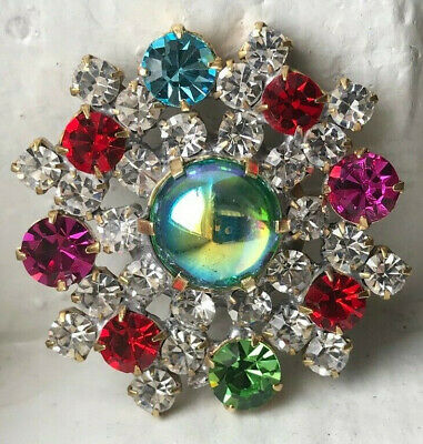 large Czech Rhinestone Button~crystal & glass~multi colors~blue AB jelly glass