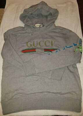 fcfd5fd4702 GUCCI Authentic Oversized Gray Cotton Logo Sweatshirt With Dragon XS  PRE-OWNED