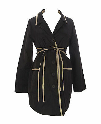 9FASHION Maternity Women'S Goma Black Button_Up Belted Coat Sz S NEW