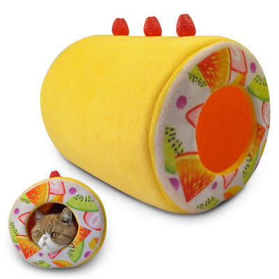 Cute Swiss Roll Pet Bed Tunnel for Cats Kittens Within 15 Lbs,Yellow