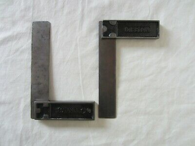 """2 Vintage Carpenter 6"""" Metal Square Tools Stanley Made in U.S.A.& Disston Square"""