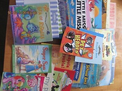Bulk lot of childrens books soft & hard cover - approx 30 + world map