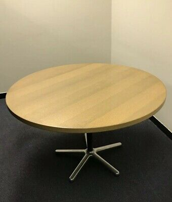 round timber Office meeting table with chrome base 0.72m H × 1.2m W