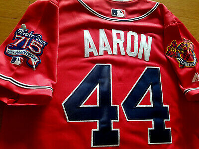 best cheap 24185 fc16f RED BRAND New Atlanta Braves #44 Hank Aaron Majestic WS all sewn Jersey  Free SH
