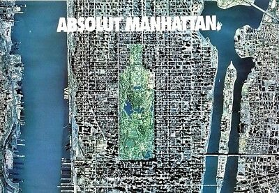 """1994 RARE Absolut MANHATTAN NYC Map 25 x 36"""" Vodka Advertising Lithograph Poster"""