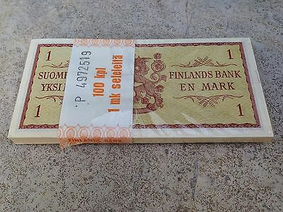 FINLAND 1 Markka Bill Banknote p98 1963 Package with 100 sequential bills