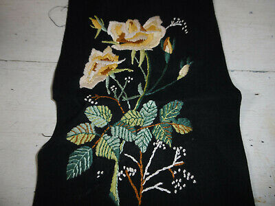 Vintage embroidered floral picture very good condition