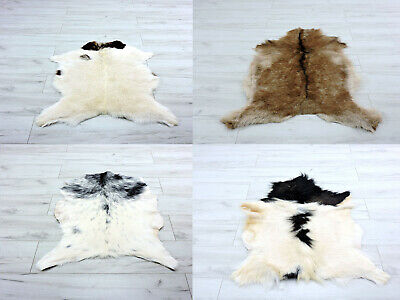Real Goat Skin Hide Rug Chair Sofa Throw Cover