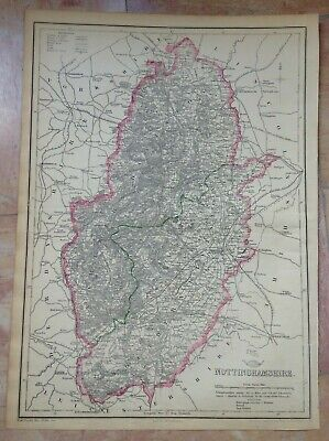 ENGLAND NOTTINGHAMSHIRE 1863 by JOHN DOWER LARGE DETAILED ANTIQUE MAP