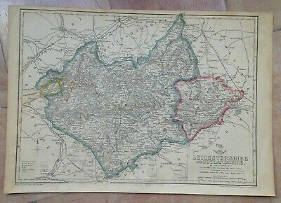 ENGLAND LEICESTERSHIRE- RUTLAND 1863 by JOHN DOWER LARGE DETAILED ANTIQUE MAP
