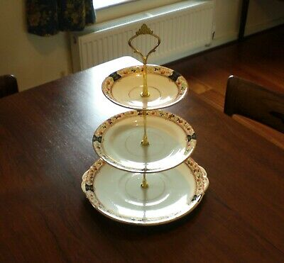 Pretty 3-Tier Vintage Cake Stand for Afternoon Tea; Melba English Bone China
