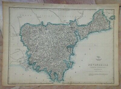 ENGLAND DEVON (SOUTH) 1863 by E WELLER LARGE DETAILED ANTIQUE ENGRAVED MAP
